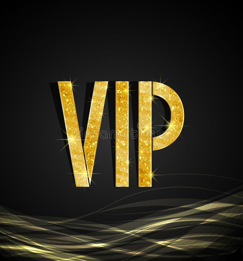 Vip Card. Black background of golden text VIP, vector stock illustration