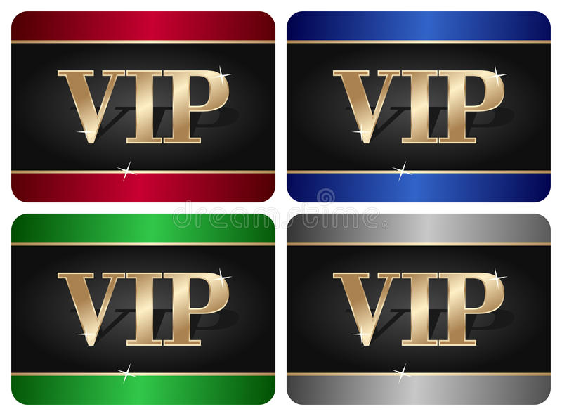 VIP Card Collection. In four different colors, isolated on white background. Eps file available stock illustration