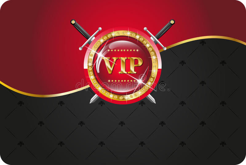 VIP card. With gold elements and brilliants royalty free illustration