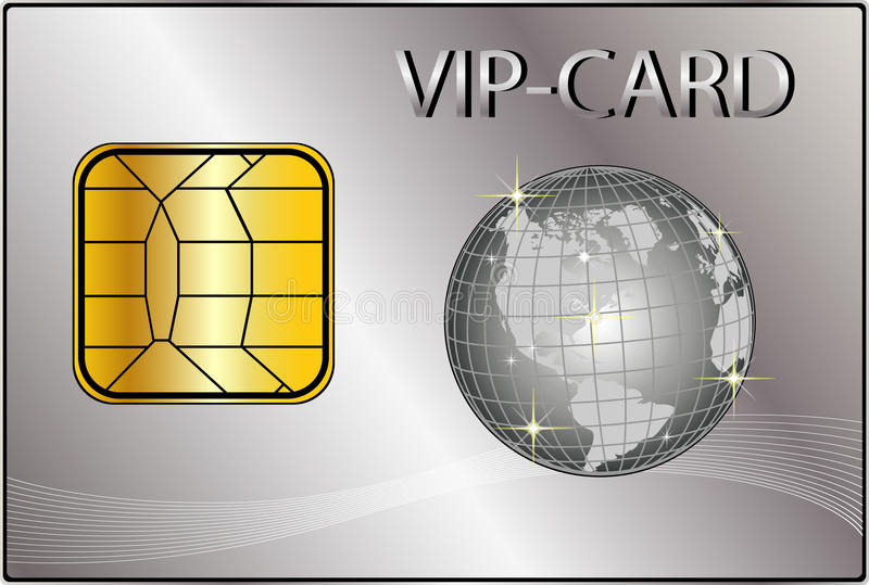 VIP Card with a golden Globe stock illustration