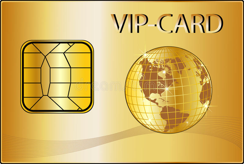 VIP Card with a golden Globe royalty free illustration