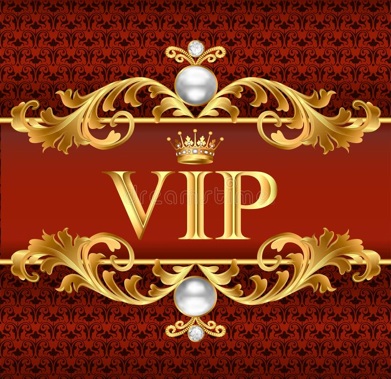 VIP card on red, jewelry background vector vector illustration