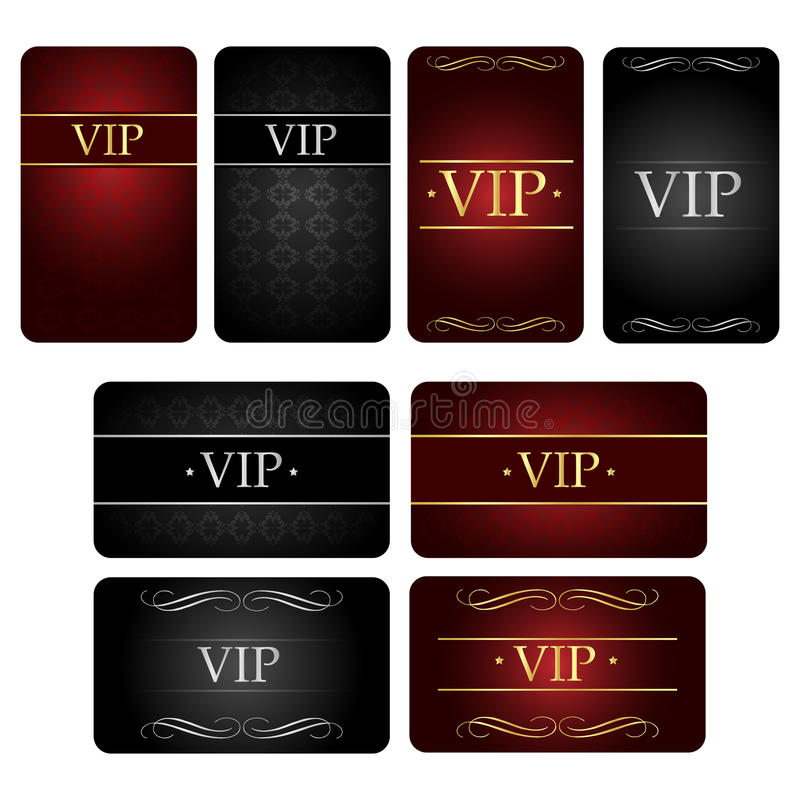 Vip card set. Set of eight Vip card or Vip pass, isolated on white background.EPS file available vector illustration