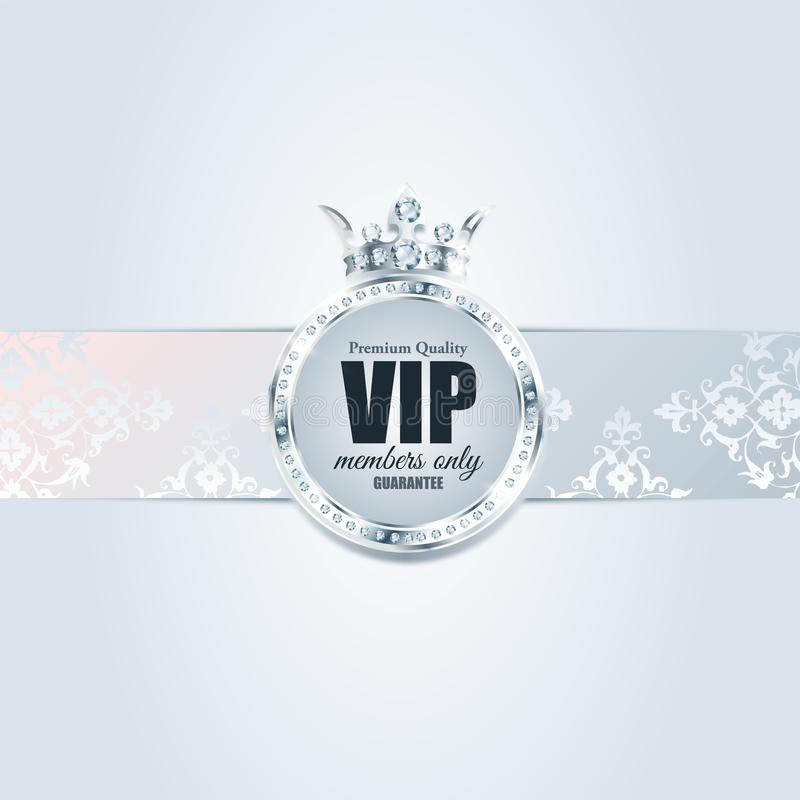 VIP card. Silver background. Premium quality. crown. VIP vector card. Silver background. Premium quality. Luxury invitation. Vintage stock illustration