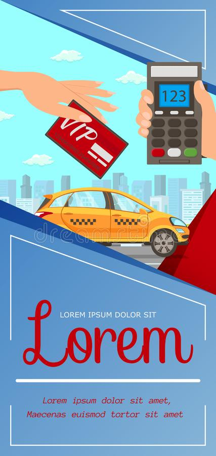 Vip Card, Taxi Service Flat Vector Illustration. Hand Holding Card, Pos Terminal with Numbers Cartoon Characters. Credit Card Pay. Cashless Payment. Cab royalty free illustration