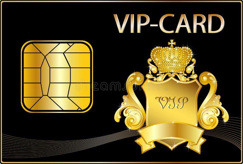 VIP Card wit a golden crest stock illustration