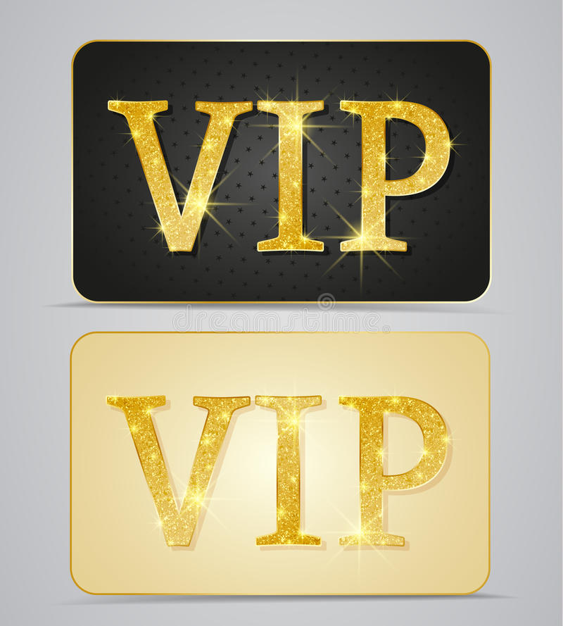 Vip cards. Gold two cards with text vip royalty free illustration