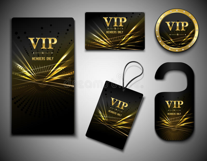 Vip cards set. Vip members only premium golden exclusive cards set isolated vector illustration vector illustration