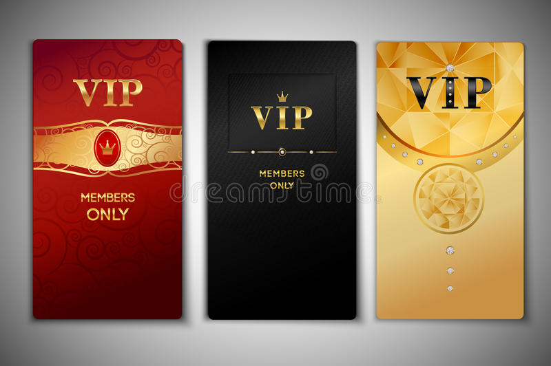 Vip cards set. Vip red black and golden premium cards set isolated vector illustration vector illustration