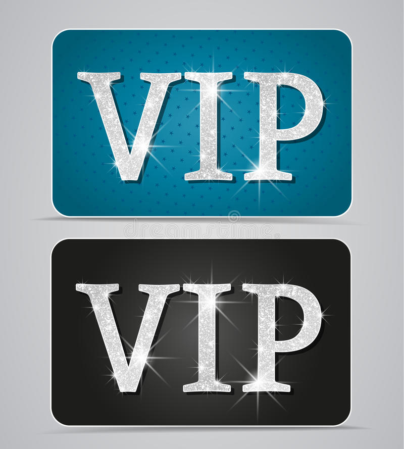Vip cards. Silver two cards with text vip royalty free illustration