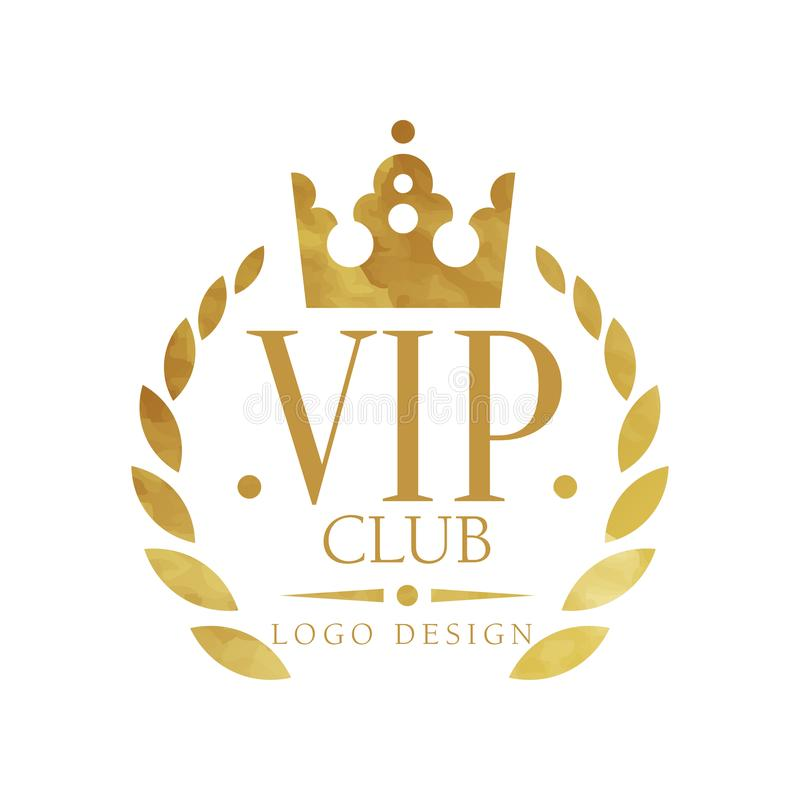 VIP club logo design, luxury elegant golden badge for boutique, restaurant, hotel, resort vector Illustration on a white royalty free illustration