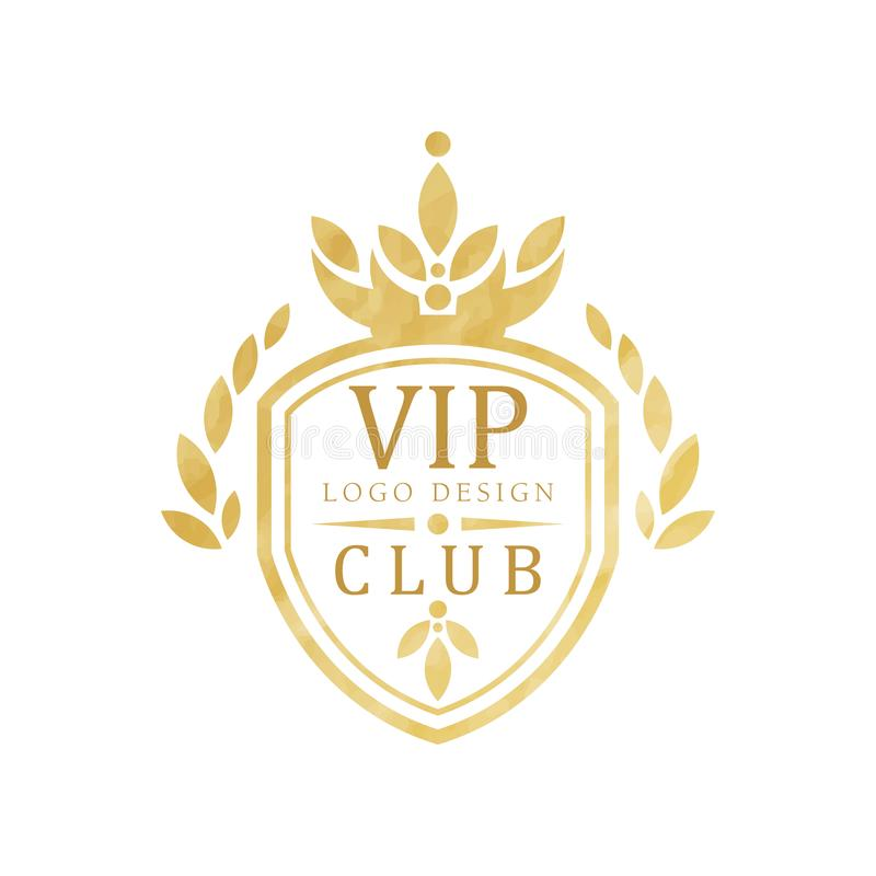 VIP club logo design, luxury elegant golden badge with shield for boutique, restaurant, hotel, resort vector vector illustration