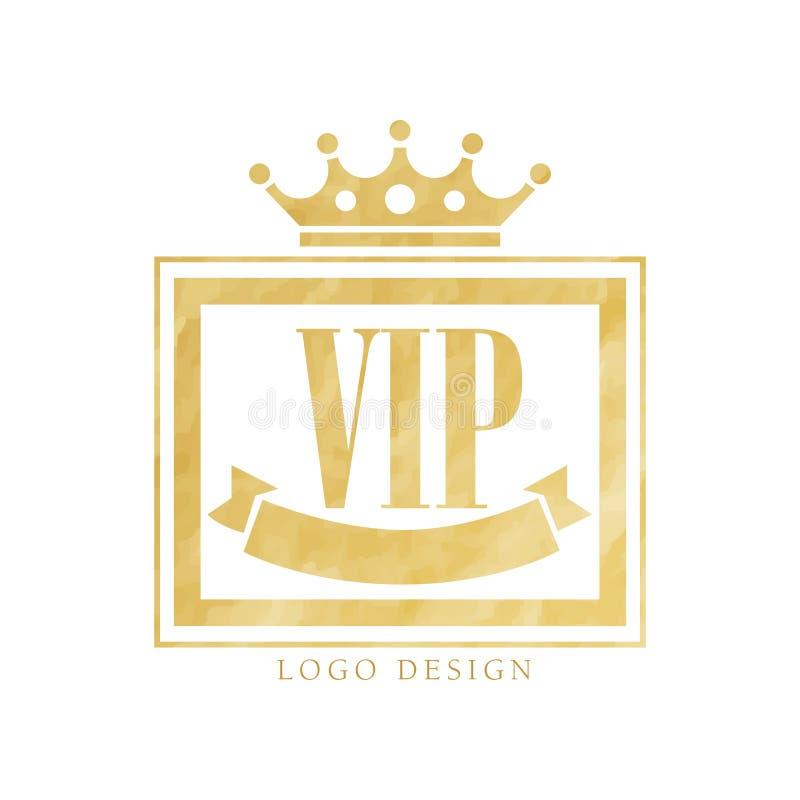 VIP club logo design, luxury golden elegant badge for resort, boutique, restaurant, hotel vector Illustration on a white stock illustration