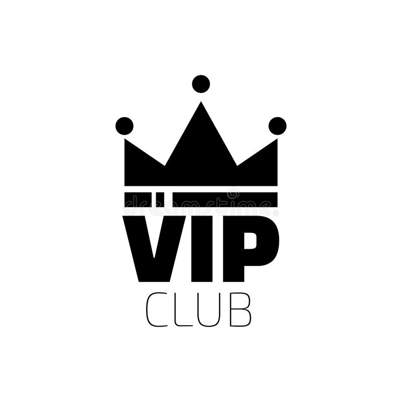 VIP club logo in flat style. VIP Club members only banner. stock illustration