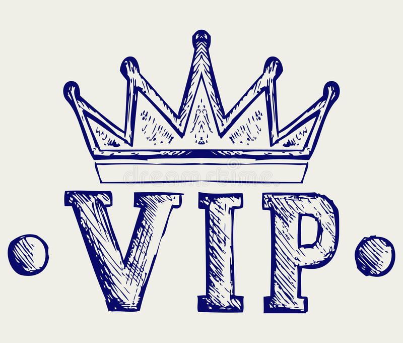 Vip crown symbol. Doodle style stock illustration