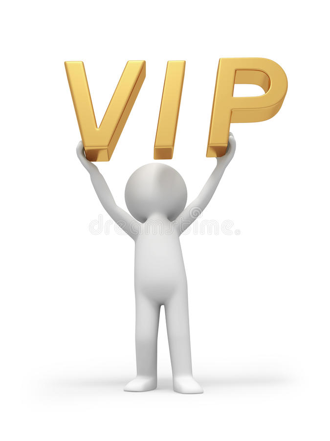 VIP. A 3d person holding a VIP symbol stock illustration