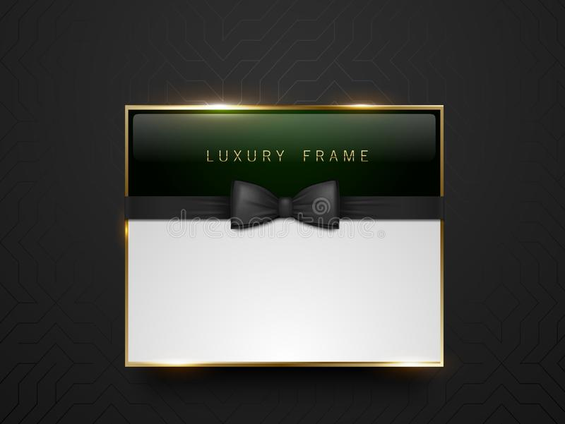 Vip dark green glass label with golden frame and black bow tie on black silk geometric background. White text place. Premium gloss. Y template . Vector luxury stock illustration