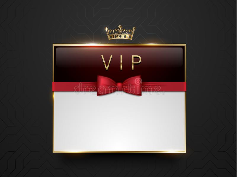 Vip dark red glass label with golden frame, crown and red bow tie on black silk geometric background. White text place. Premium. Glossy template . Vector luxury royalty free illustration