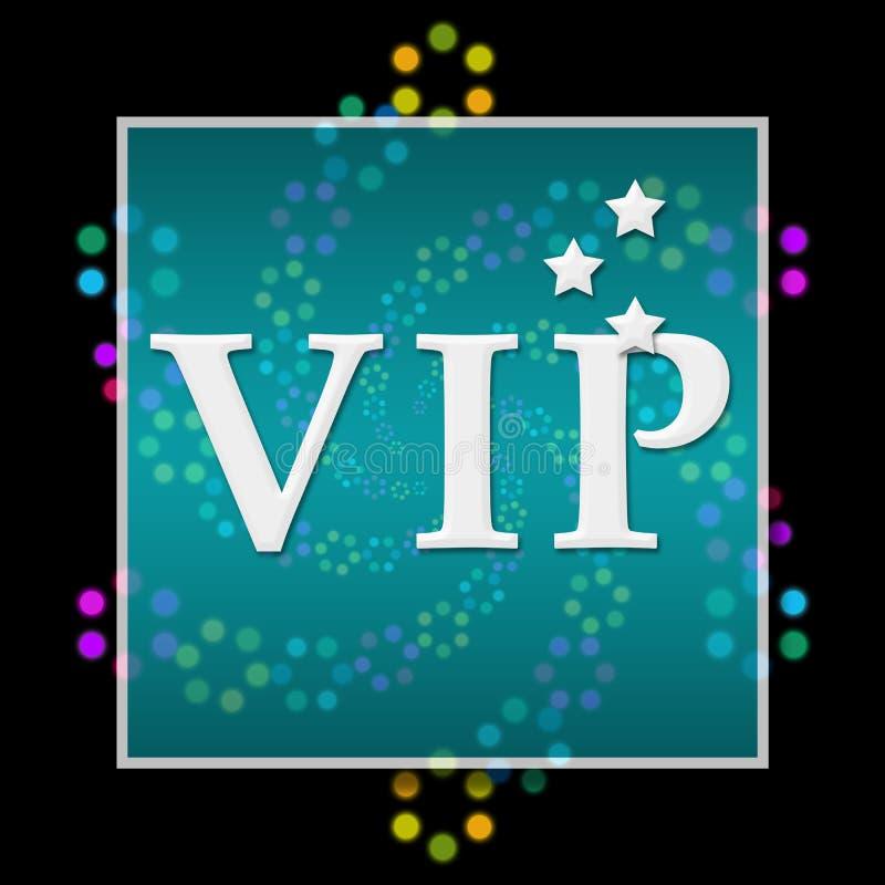 VIP Donker Kleurrijk Neonvierkant stock illustratie