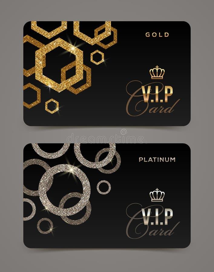 VIP dourado e cartão da platina ilustração stock