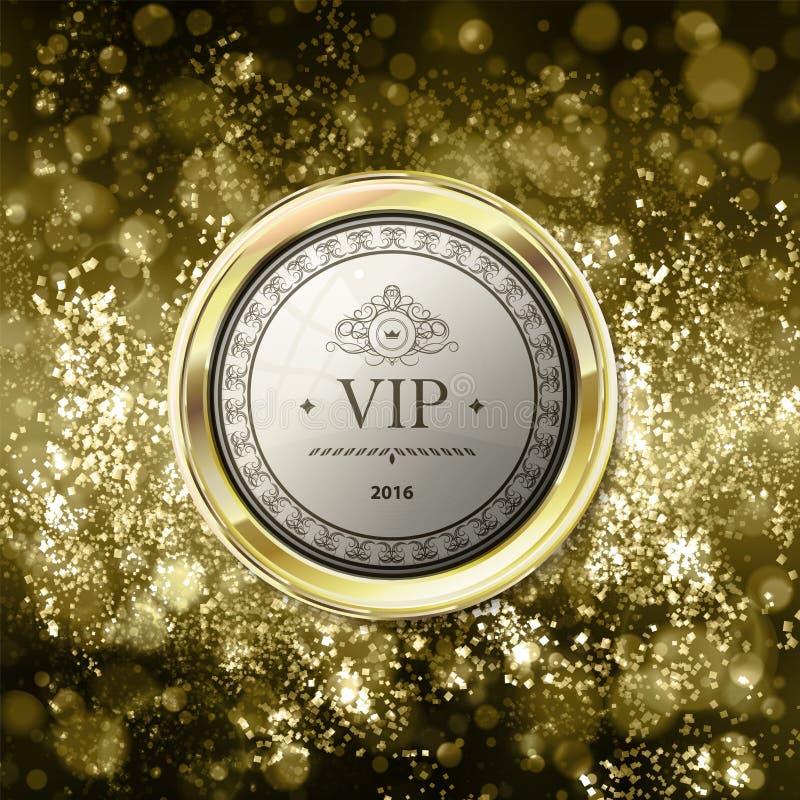 Vip-emblem på abstrakt guld- bakgrund med bokeh Guling och li vektor illustrationer