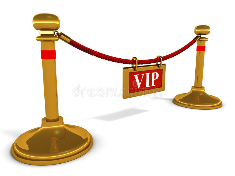 Vip only entrance. VIP label on an entrance supported by bronze pillars, on white background vector illustration