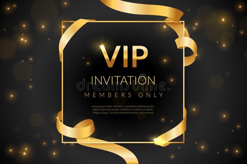 VIP gift card di lusso, coupon di invito vip, certificato con testo in oro, iscrizione esclusiva ed elegante a illustrazione di stock