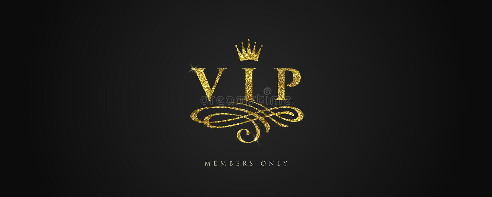 VIP - Glitter gold logo with crown and flourishes element on black background. stock illustration