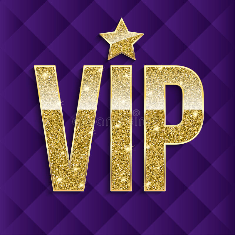 VIP golden letters with glitter on abstract quilted background, luxury card. Golden symbol of exclusivity. Very. Important person - VIP icon. Template for royalty free illustration