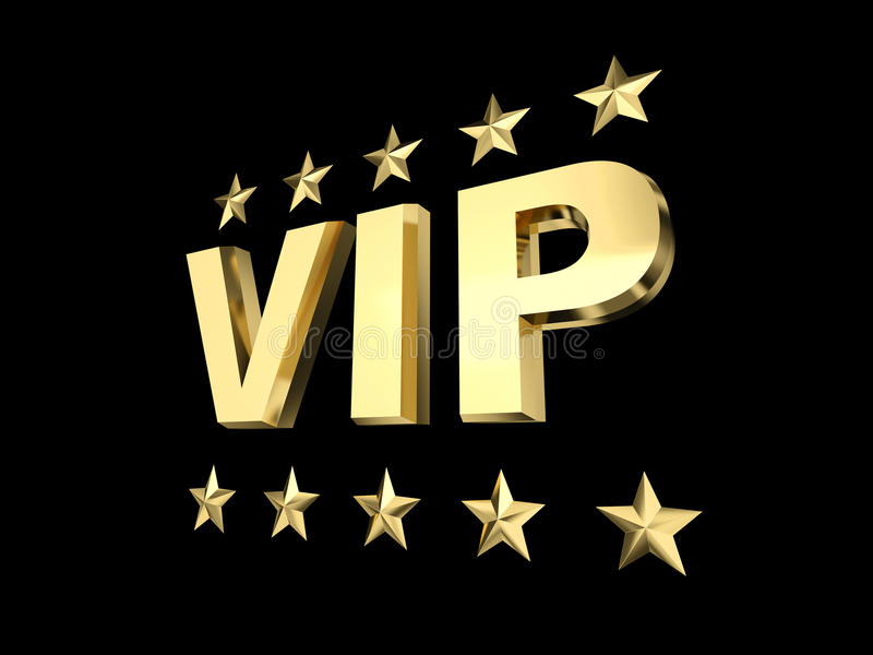 Vip and golden star. Vip golden status 3d rendering image royalty free stock photos