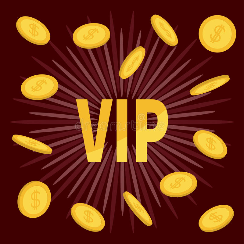 VIP. Golden text Flying coin rain with dollar sign. Online casino, roulette, poker, slot machines, card games, gambling club banne. R. Flat design. Bordo royalty free illustration
