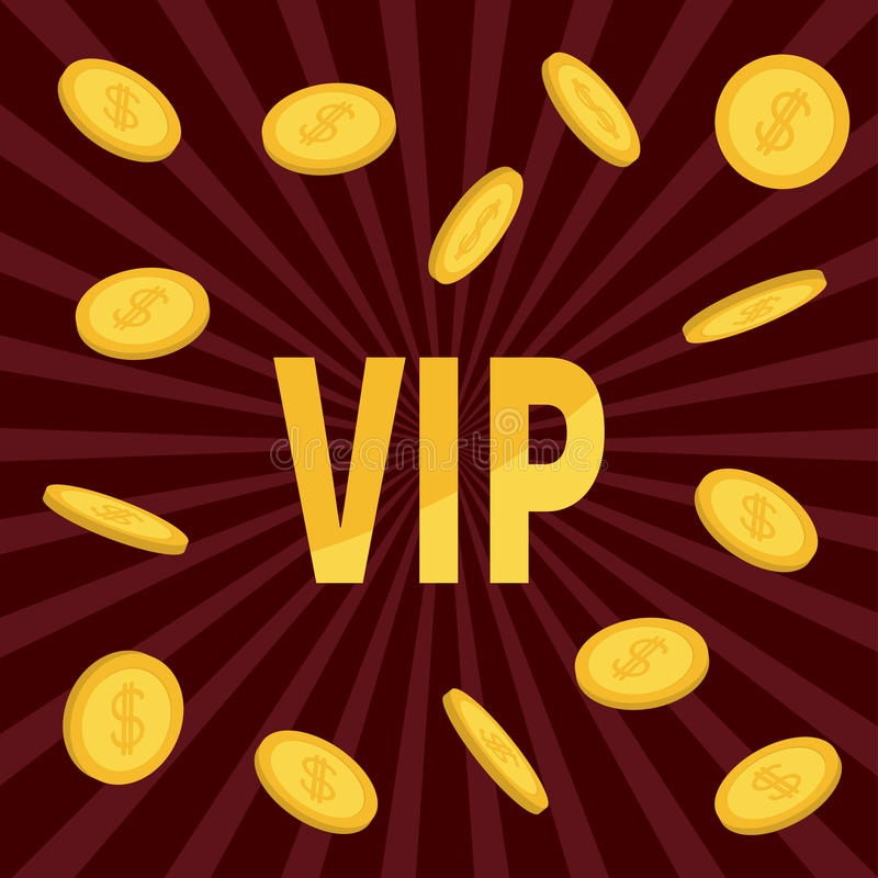 VIP. Golden text Flying dollar sign gold coin rain. Online casino, roulette, poker, slot machines, card games, gambling club banne royalty free illustration