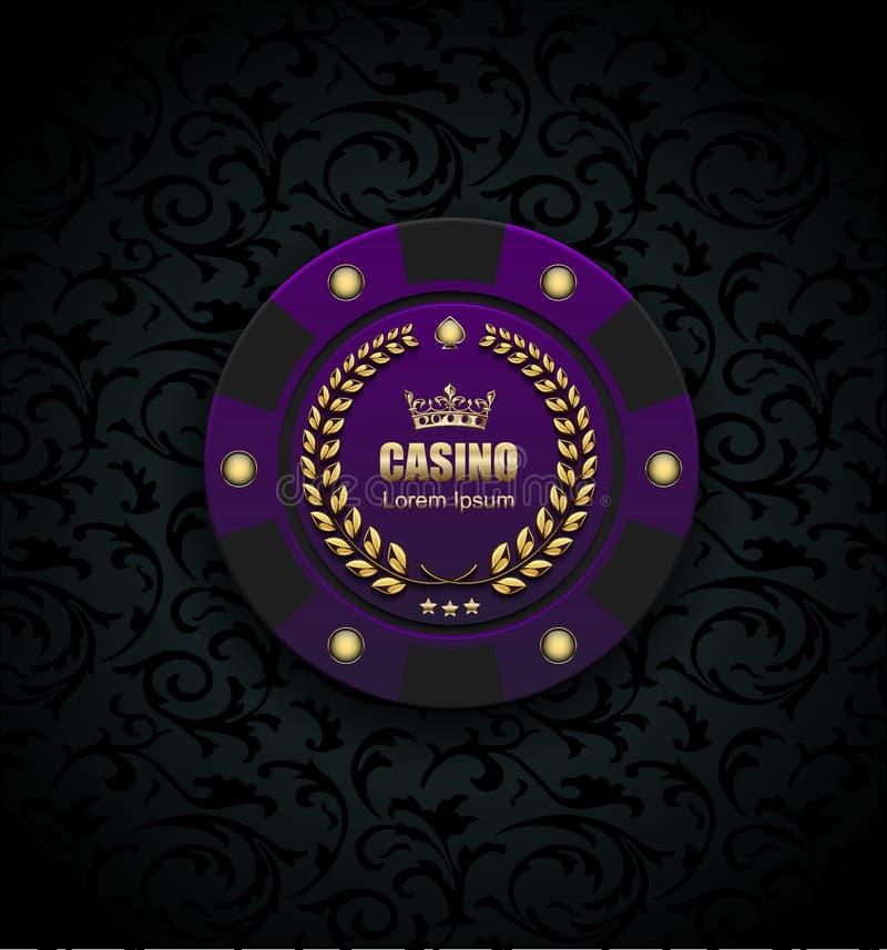 VIP grzebaka luksusowe purpury szczerbią się wektorowego kasynowego loga pojęcie Królewski grzebaka klubu emblemat z złotą koroną ilustracja wektor