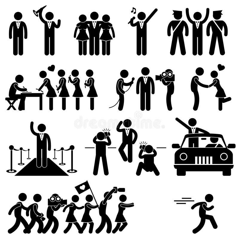 VIP Idol Celebrity Star Pictogram. A set of pictogram representing idol, VIP, celebrity, and stars stock illustration