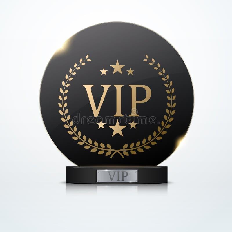 Vip-inbjudan med den svarta utmärkelsetrofén, vektor royaltyfri illustrationer