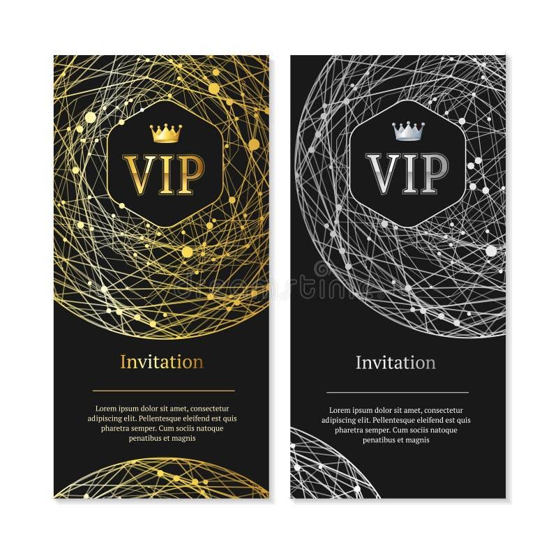 Vip-inbjudan och kortuppsättning vektor royaltyfri illustrationer