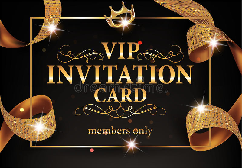 Vip invitation card with gold frame and sparkling ribbon stock download vip invitation card with gold frame and sparkling ribbon stock vector illustration of fabric stopboris Image collections