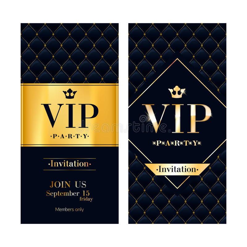 VIP invitation card premium design template. VIP party premium invitation card poster flyer. Black and golden design template. Quilted pattern decorative royalty free illustration