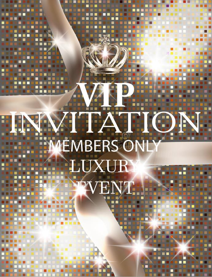 VIP invitation card with silk ribbons and textured background. Vector illustration royalty free illustration