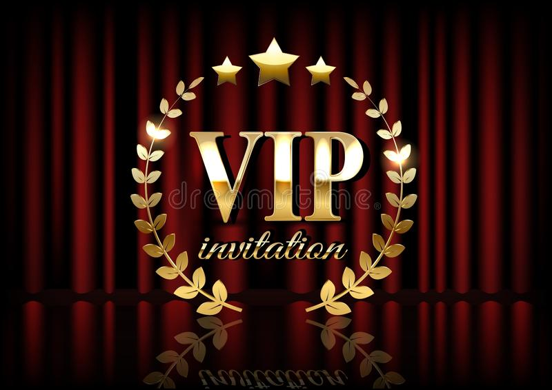 VIP invitation card with theater curtains and lights on the background vector illustration