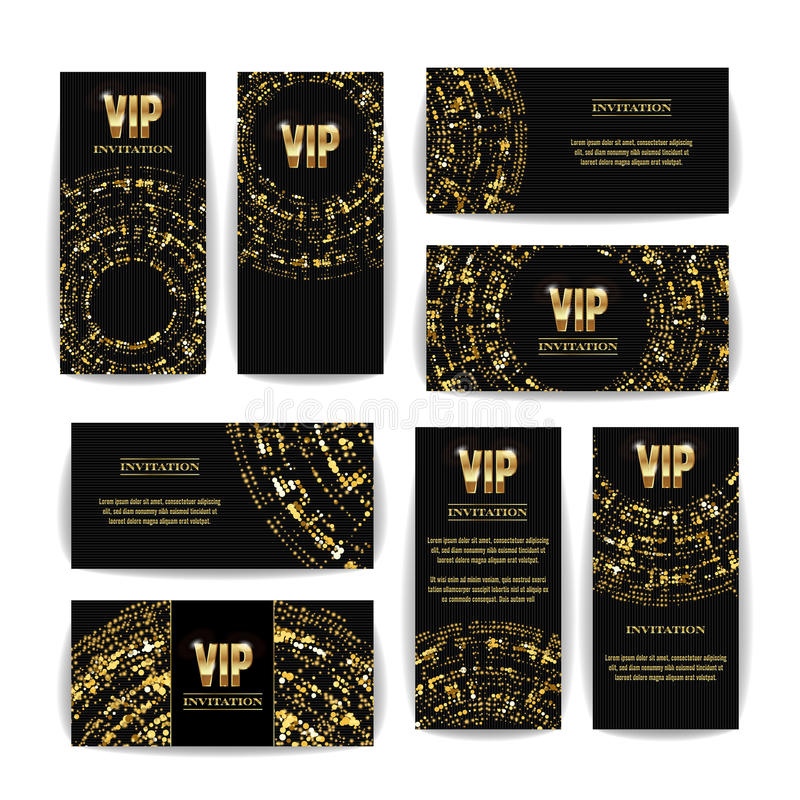 VIP Invitation Card Vector Set. Party Premium Blank Poster Flyer. Black Golden Design Template. Decorative Vector Background. Eleg. Ant Template Luxury royalty free illustration