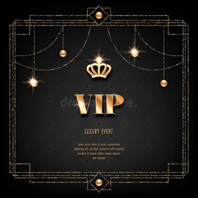 VIP invitation card. VIP invitation template with golden crown, art deco frame and sparkling beads on black background vector illustration