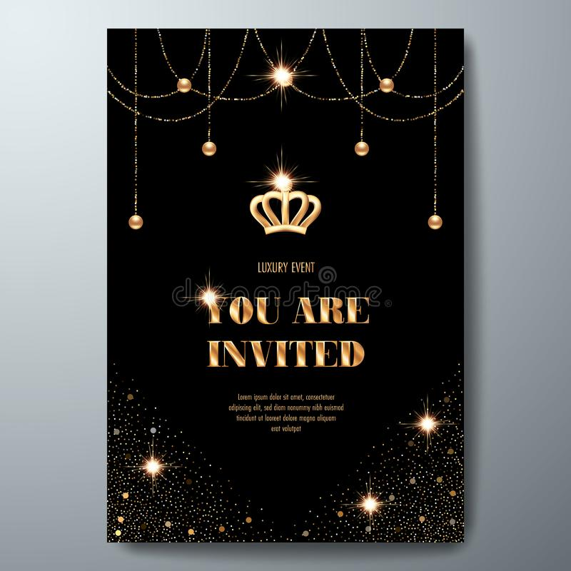 VIP invitation card. VIP invitation template with golden crown, confetti and sparkling beads on black background vector illustration