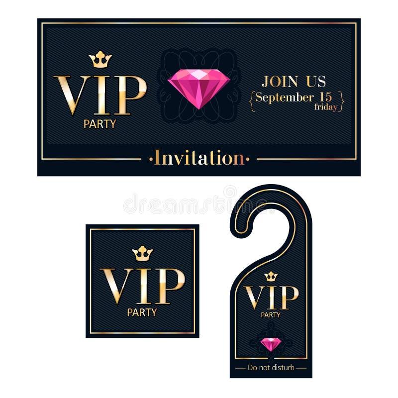 VIP invitation card, warning hanger and badge. VIP party premium invitation card, warning hanger and square label badge. Black and golden design template set royalty free illustration