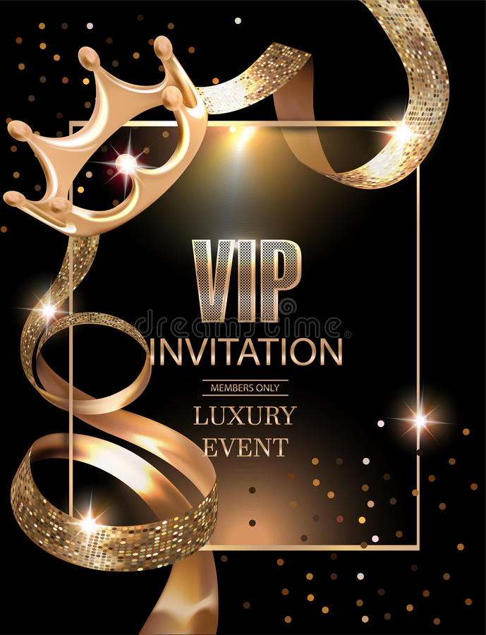 Free VIP Invitation Card With Gold Ribbons,frame And Crown Stock Photo - 88437410