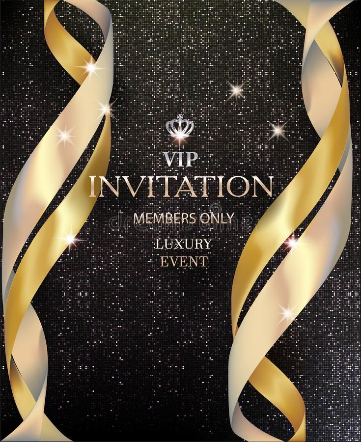Vip invitation card withgolden ribbons and background with circle pattern. Vector illustration stock illustration