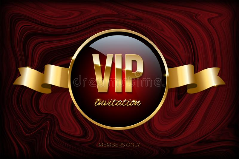 VIP invitation design template. Vector golden ribbon and VIP invitation text on dark red marble texture. VIP invitation design template. Vector golden ribbon vector illustration