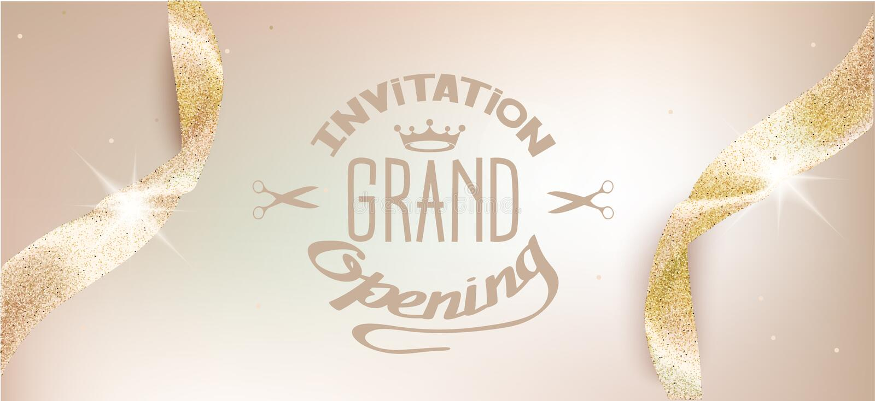 Elegant grand opening beige invitation card with sparkling ribbons. vector illustration