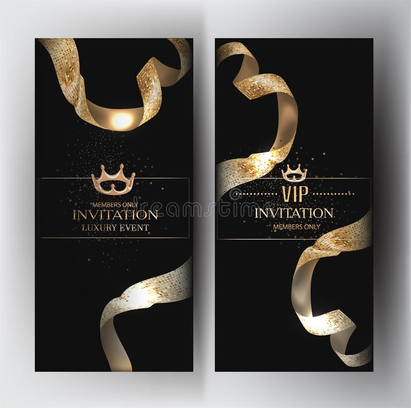Elegant invitation cards with golden textured ribbons. royalty free illustration