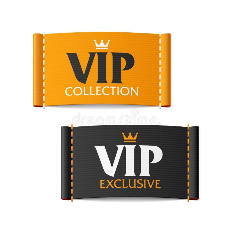 VIP inzameling en VIP exclusieve etiketten royalty-vrije illustratie